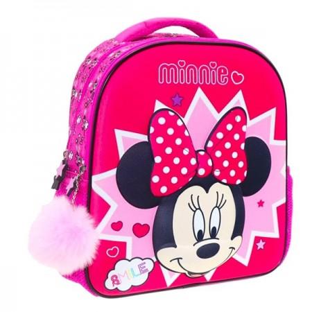 Ghiozdan rucsac cu imprimeu 3D Minnie Mouse roz 31 cm