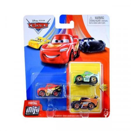 Set 3 masinute metalice Tim, Brick, Fulger McQueen Mini Racers Disney Cars
