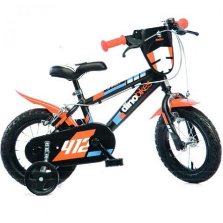 "Bicicleta pentru copii cu roti ajutatoare 12"" negru-portocaliu MTB"
