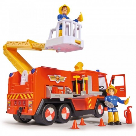 Masina de Pompieri Jupiter 2.0 cu figurine Sam si Elvis - Pompierul Sam