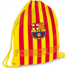 Sac de umar cu snur FC Barcelona galben-rosu