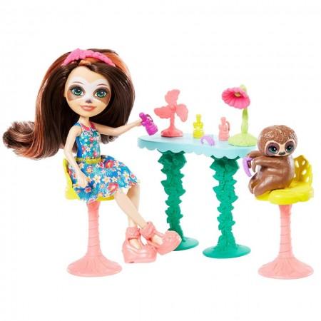 Salonul de infrumusetare - Set de joaca Enchantimals cu papusa Sela Sloth