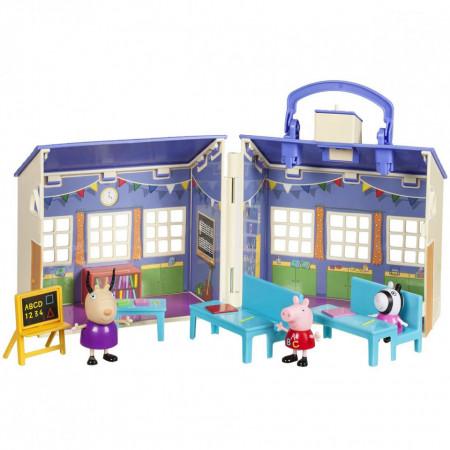 Set de joaca pliabil Scoala cu figurine Peppa, Zoe si Madame Gazelle Peppa Pig