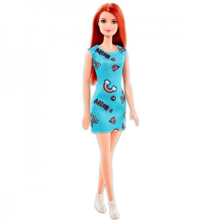 Papusa Barbie Fashionistas roscata in rochie turcoaz