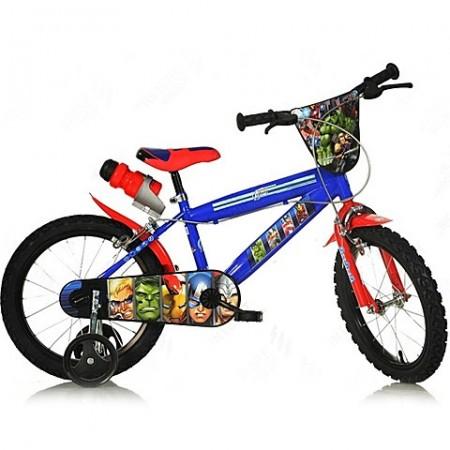 """Bicicleta pentru copii cu roti ajutatoare si sticla de apa 14"""" Avengers"""