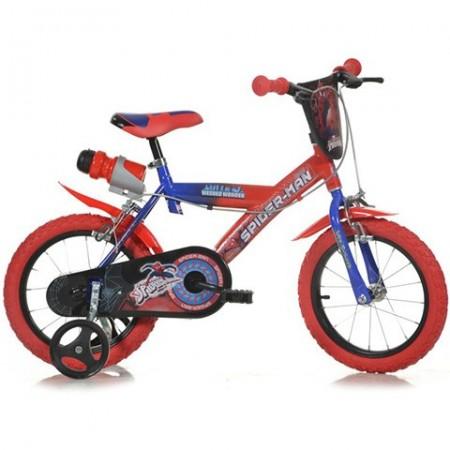 """Bicicleta pentru copii cu roti ajutatoare si sticla de apa 14"""" Spiderman Homecoming"""