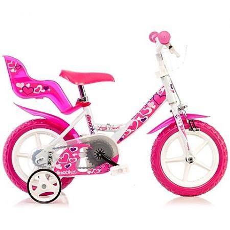 """Bicicleta pentru fetite cu roti ajutatoare si aplicatii roz 12"""""""