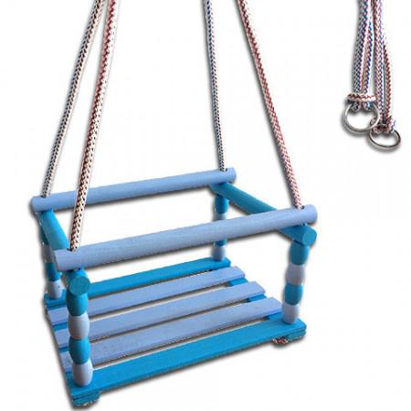 Leagan din lemn pentru exterior albastru