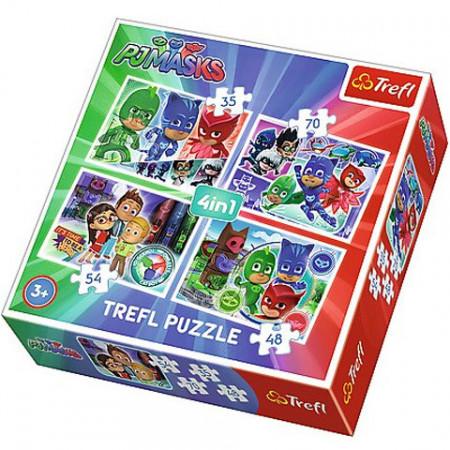 Puzzle Eroi in Pijama  Gata de actiune 4 in 1 - 35, 48, 54 si 70 piese