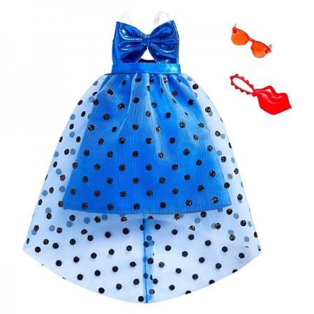 Set haine Barbie - rochie albastra, poseta si ochelari de soare