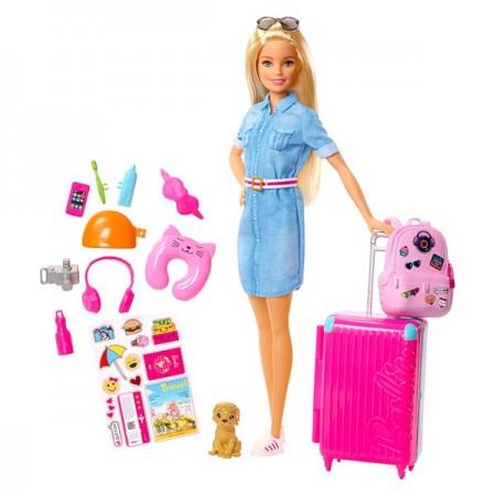 Set Papusa Barbie si accesorii pentru calatorie