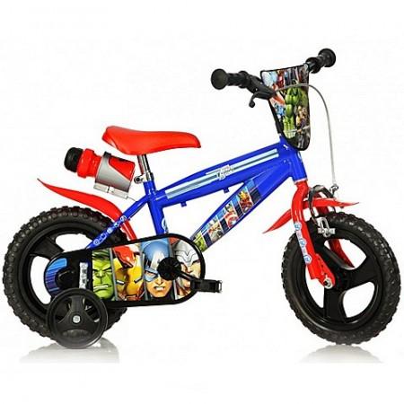 """Bicicleta pentru copii cu roti ajutatoare si sticla de apa 12"""" Avengers"""