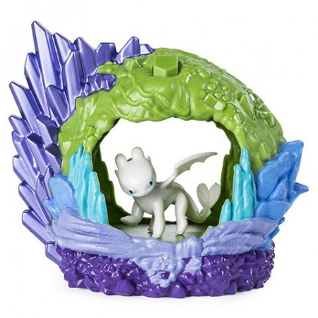 Set de joaca Cum sa-ti dresezi dragonul - Figurina Light Fury in pestera