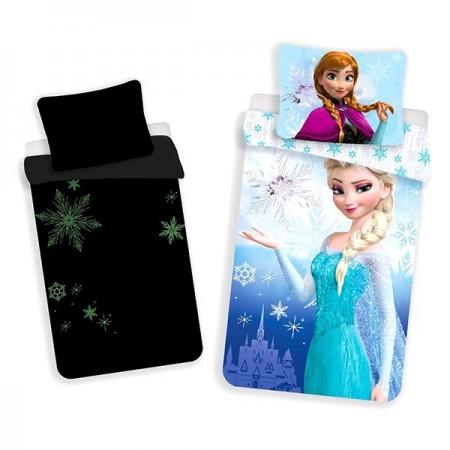 Lenjerie de pat care lumineaza in intuneric Frozen Disney 140x200 cm