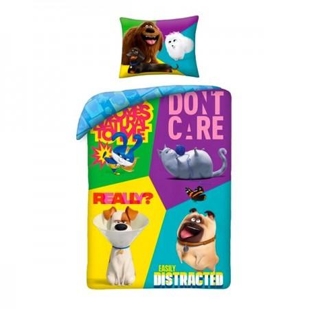 Lenjerie de pat colorata The Secret Life of Pets (Singuri Acasa) 140x200 cm