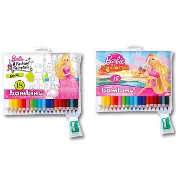 Set 18 creioane colorate cu ascutitoare Barbie