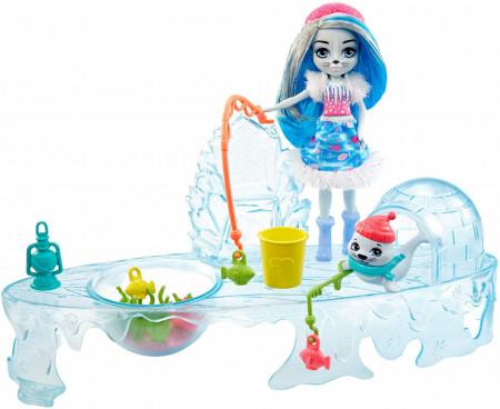 Set de joaca Distractie la pescuit Enchantimals cu Papusa Sashay Seal si figurina foca Blubber