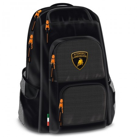 Ghiozdan ergonomic cu 2 compartimente si buzunare frontale Lamborghini 48 cm