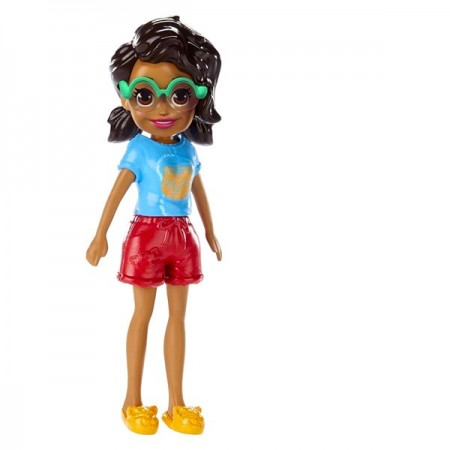 Polly Pocket figurina Shani in tricou cu model pisica