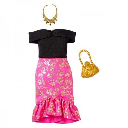 Set haine Barbie - rochie negru cu roz accesorizata
