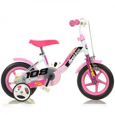 """Bicicleta roz pentru fetite cu roti ajutatoare 10"""" Dino Sport"""