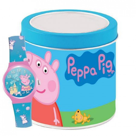 Ceas de mana analog in cutie metalica Peppa Pig