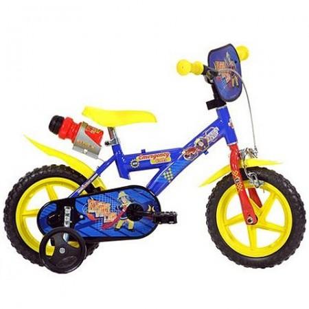 """Bicicleta pentru copii cu roti ajutatoare si sticla de apa 12"""" Sam Pompierul"""