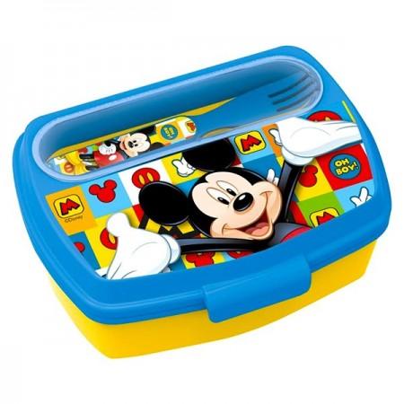 Cutie de pranz cu furculita si cutit Mickey Mouse