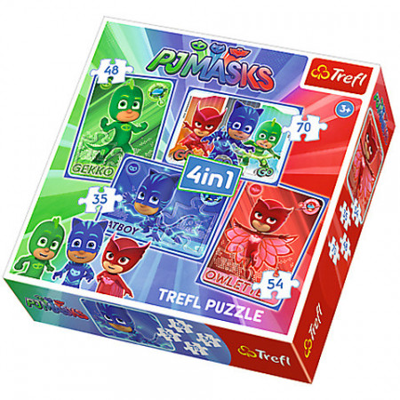 Puzzle Eroi in Pijama 4 in 1 - 35, 48, 54 si 70 piese