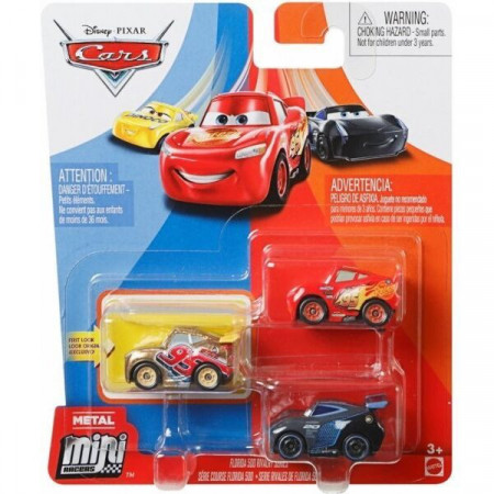 Set 3 masinute metalice Fulger McQueen, Golden Cruz, Jackson Storm Mini Racers Disney Cars