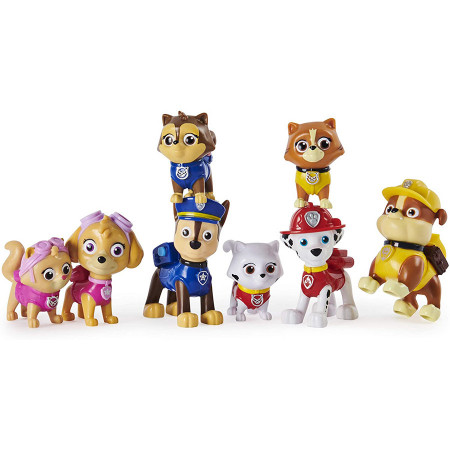 Set 8 figurine Patrula Catelusilor - Chase, Skye, Rubble, Marshall si pisicutele