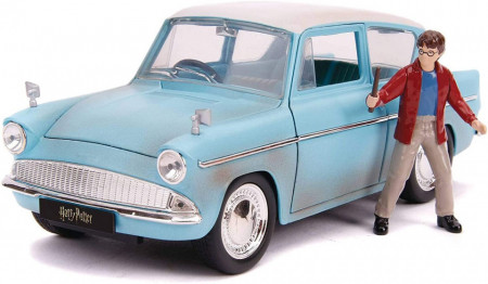 Set de joaca Harry Potter - figurina si masinuta metalica Ford Anglia 1959 1:24