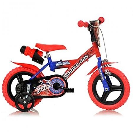 """Bicicleta pentru copii cu roti ajutatoare si sticla de apa 12"""" Spiderman BMX"""