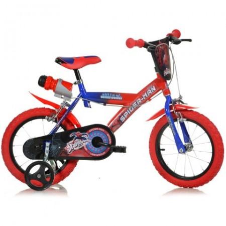 """Bicicleta pentru copii cu roti ajutatoare si sticla de apa 14"""" Spiderman"""