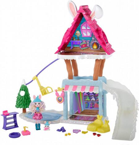 Set de joaca Cabana de Schi Enchantimals cu Papusa Bevy Bunny si Jump