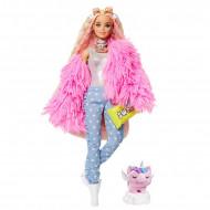 Barbie Extra - Papusa blonda cu haina roz si accesorii
