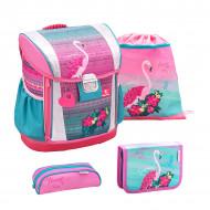 Ghiozdan scoala echipat Belmil Customize me - Flamingo love