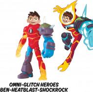 Figurina articulata Ben 10 Omni-Glitch Ben-Heatblast-Shock Rock