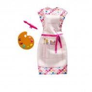 Haine Barbie - rochie pictorita cu pensula si paleta de culori