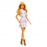 Papusa Barbie Fashionistas blonda in rochie cu dungi