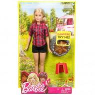 Papusa Barbie langa Focul de Tabara cu sunete si lumini