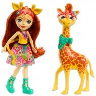 Papusa Girafa Gillian şi figurina Pawl EnchanTimals