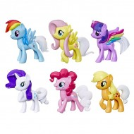 Set 6 figurine ponei cu coada curcubeu My Little Pony