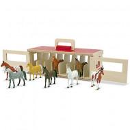 Set de joaca cu 8 figurine cai si grajd transportabil Melissa & Doug