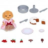 Set de joaca Decorarea Tortului cu figurina Pudel Sylvanian Families