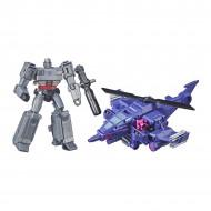 Set figurine transformabile Transformers Buzzworthy Bumblebee War for Cybertron - Megatron si Chopper Cut