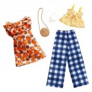 Set haine Barbie - rochie cu imprimeu imprimeu portocale, pantaloni si bluza