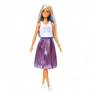 Papusa Barbie Fashionistas blonda cu suvite albastre in fusta colorata si tricou alb
