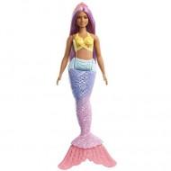 Papusa Barbie sirena cu parul mov Dreamtopia