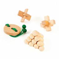 Set 4 piese Wooden Brain Puzzles Junior